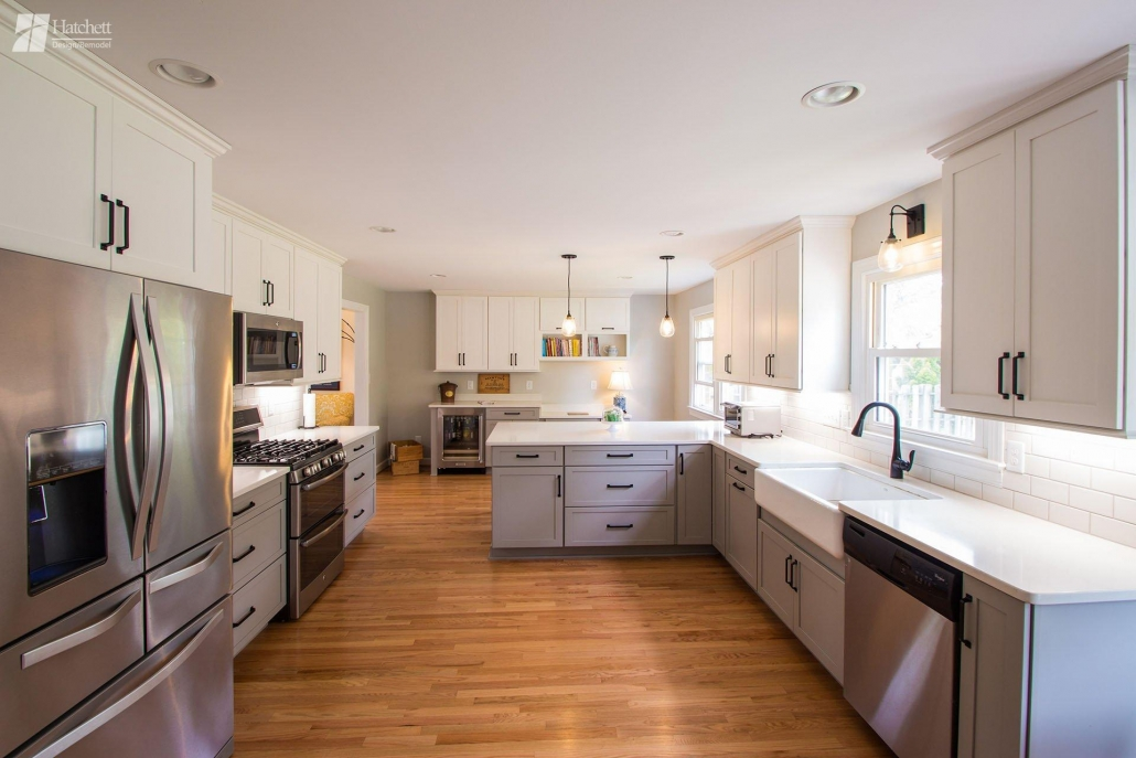 Kitchen Remodel, Two-Toned Cabinets, Tuxedo style, Gray and White